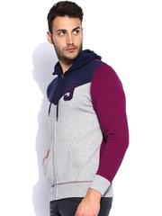 Lee Grey Melange & Purple Hooded Sweatshirt