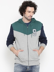 Lee Grey Melange & Navy Hooded Sweatshirt