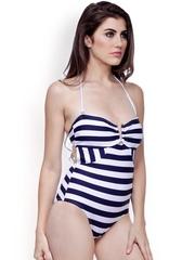 Heart 2 Heart Black Striped Swimwear LSW 74