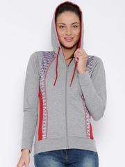 FILA Grey Melange Printed Hooded Jacket