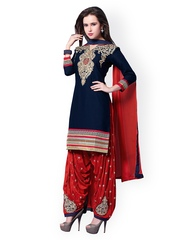 Kvsfab Navy & Red Embroidered Cotton Unstitched Dress Material