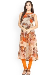La Firangi Beige & Orange Floral Print A-Line Kurta