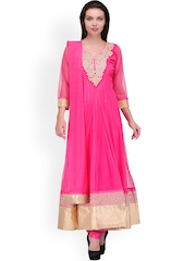 Aujjessa Pink Anarkali Churidar Kurta with Dupatta
