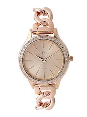 Daniel Klein Women Rose Gold-Toned Stone-Studded Dial Watch DK10664-1
