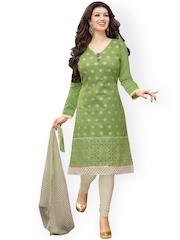 Saree mall Green & Grey Embroidered Chanderi Unstitched Dress Material