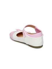 YK Girls Pink & White Mark Janes