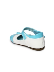 YK Girls White & Blue Mary Janes