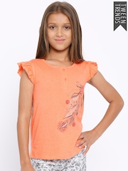 YK Girls Peach-Coloured Printed Henley T-shirt