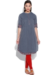 BIBA Grey Kurta with Printed Inner