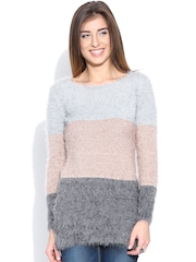 People Grey & Peach-Coloured Striped Boucle Knit Winter Top