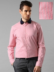 INVICTUS Red & White Checked Slim Formal Shirt