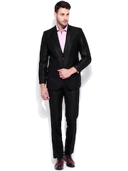 Four One Oh Men Black Tailored Fit Single-Breasted Formal Suit