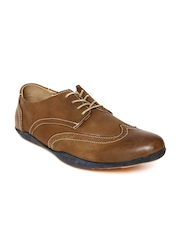 Famozi Brown Leather Semiformal Shoes with Brogue Styling