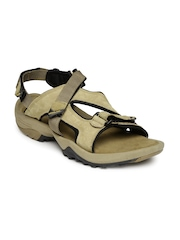 Woodland Men Khaki Leather Sports Sandals