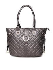 Cappuccino Gunmetal-Toned Quilted Shoulder Bag