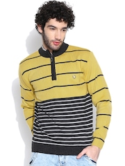 Duke Yellow & Grey Melange Striped Sweater