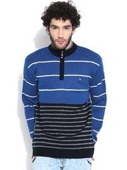 Duke Blue & Grey Melange Striped Sweater