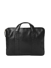 Hidesign Unisex Black Leather Laptop Bag