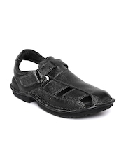 Hush Puppies by Bata Men Black Textured Leather Sandals