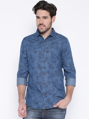 United Colors of Benetton Blue Denim Printed Casual Shirt