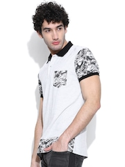 United Colors of Benetton Grey Melange Printed Polo T-shirt
