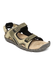 Woodland Men Olive Green Leather Sports Sandals