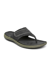 Woodland Men Charcoal Grey Leather Sandals