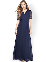 La Zoire Navy Lace Maxi Dress