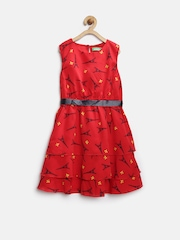 Palm Tree by Gini & Jony Girls Red Printed Polyester Fit & Flare Dress
