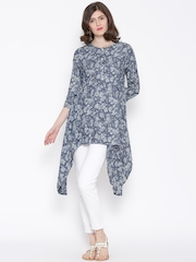 BIBA OUTLET Navy & Grey Floral Print Denim Tunic
