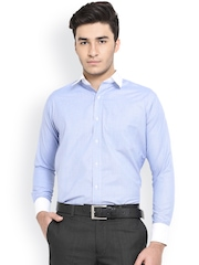 Shaftesbury London Blue Cotton Slim Fit Formal Shirt