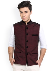 Shaftesbury London Maroon Silk Nehru Jacket