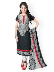 Vaamsi Black Printed Unstitched Crepe Dress Material