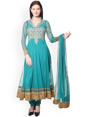 Chitwan Mohan Sea Green Embroidered Anarkali Churidar Kurta with Dupatta