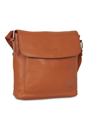 Taws Men Tan Brown Leather Messenger Bag