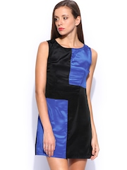 Sher Singh Blue & Black Colour Blocked Dress