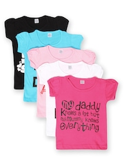 GKIDZ Girls Pack of 5 Printed T-shirts