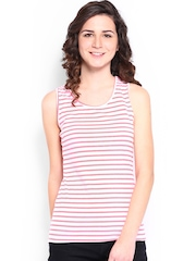 Jealous 21 Women Off-White & Pink Striped Racer Back Top