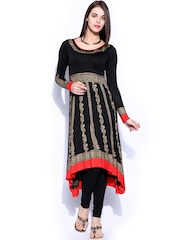 Ira Soleil Women Black & Gold-Toned Knitted Printed Anarkali Kurta