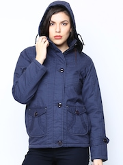 Fort Collins Women Blue Jacket with Detachable Hood