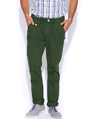 HRX Men Green Overdyed Trousers