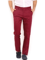 U.S. Polo Assn. Men Maroon Tapered Fit Smart-Casual Trousers