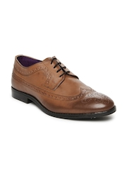 Knotty Derby Men Tan Brown Oliver Longwing Brogue Formal Shoes