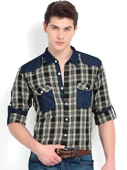 Roadster Men Black & Olive Green Checked Slim Fit Casual Shirt