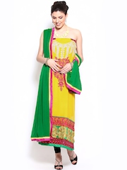 Ambica Yellow & Green Georgette & Chiffon Semi-Stitched Dress Material