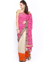 Ambica Beige & Pink Cotton Silk Jacquard Fashion Saree