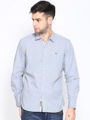 Lee Men Grey Printed Slim Fit Casual Shirt