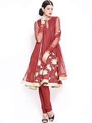 BIBA by Rohit Bal Women Red Anarkali Churidar Kurta with Dupatta