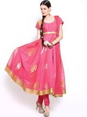 BIBA by Rohit Bal Women Pink Churidar Kurta with Dupatta