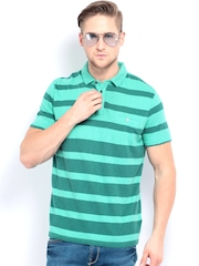Calvin Klein Jeans Men Green Striped Polo T-shirt